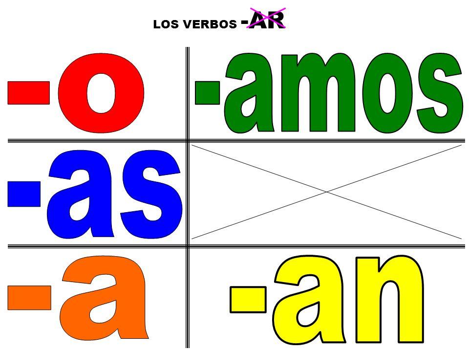 LOS VERBOS -AR 2 -o -amos -as -a -an