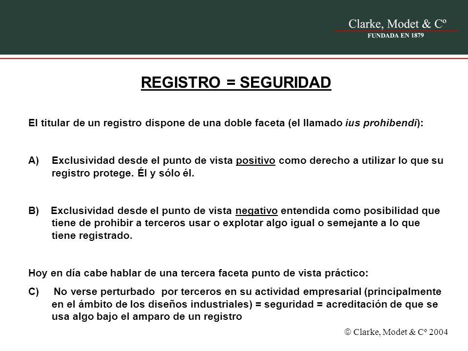REGISTRO = SEGURIDAD El titular de un registro dispone de una doble faceta (el llamado ius prohibendi):
