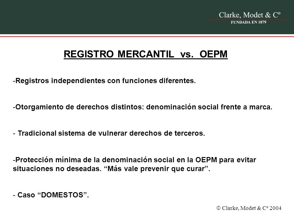 REGISTRO MERCANTIL vs. OEPM