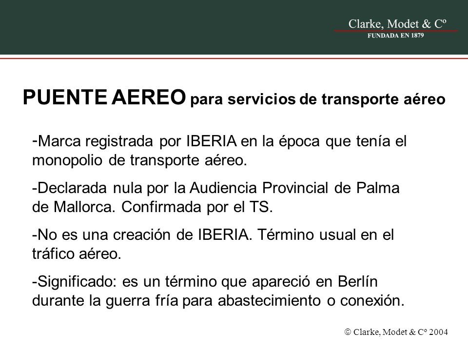 PUENTE AEREO para servicios de transporte aéreo