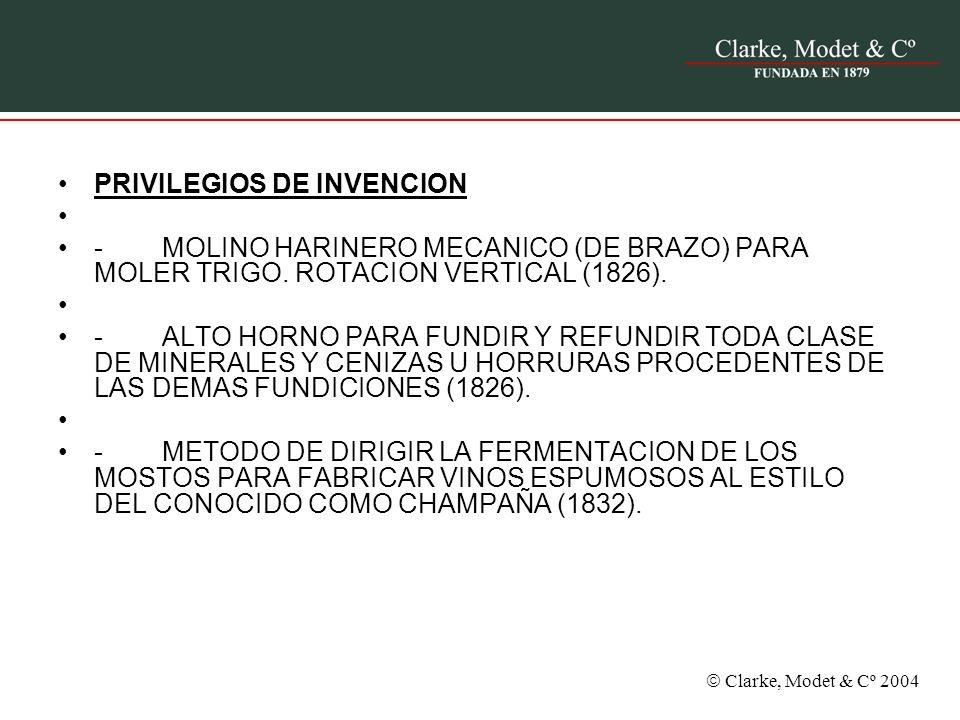 PRIVILEGIOS DE INVENCION