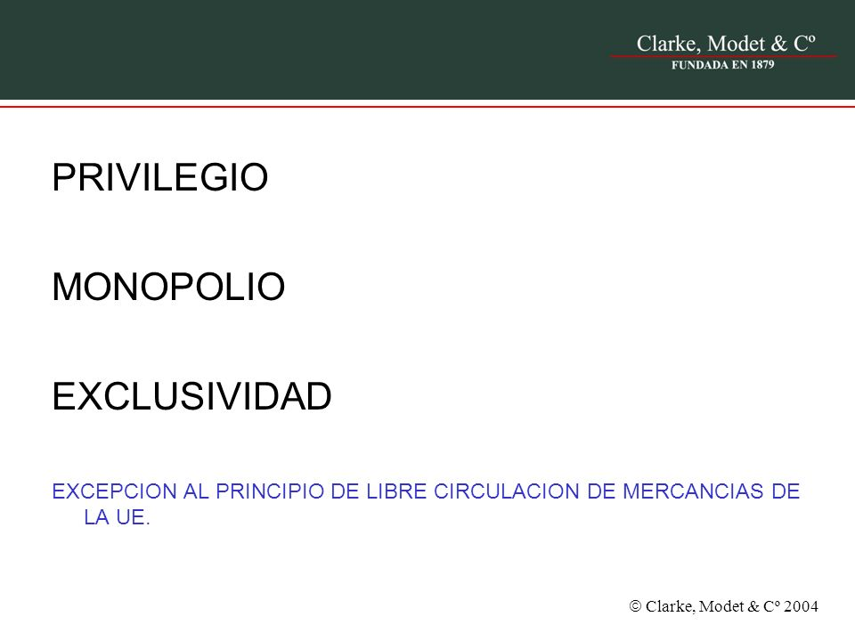 PRIVILEGIO MONOPOLIO EXCLUSIVIDAD