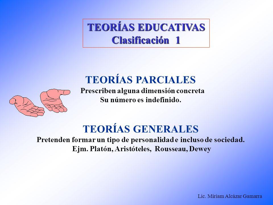 TEORÍAS EDUCATIVAS Clasificación 1 TEORÍAS PARCIALES TEORÍAS GENERALES