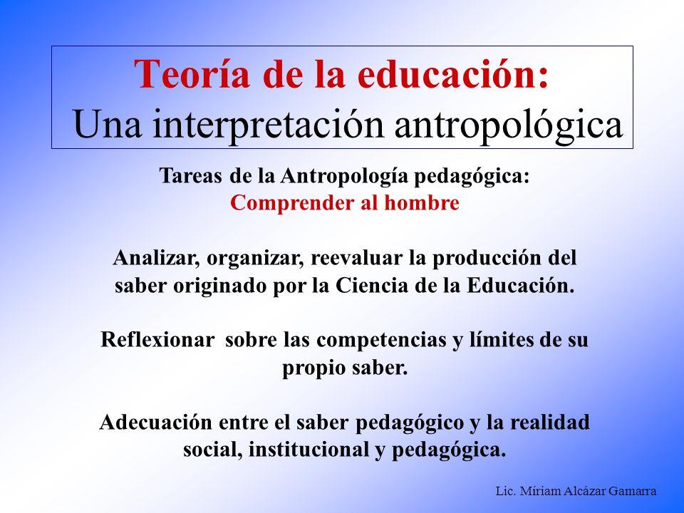Teoría de la educación: Una interpretación antropológica
