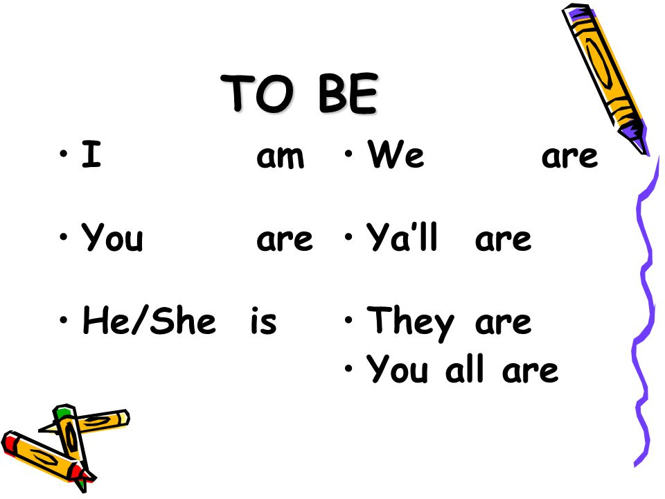 TO BE I am You are He/She is We are Ya'll are They are You all are