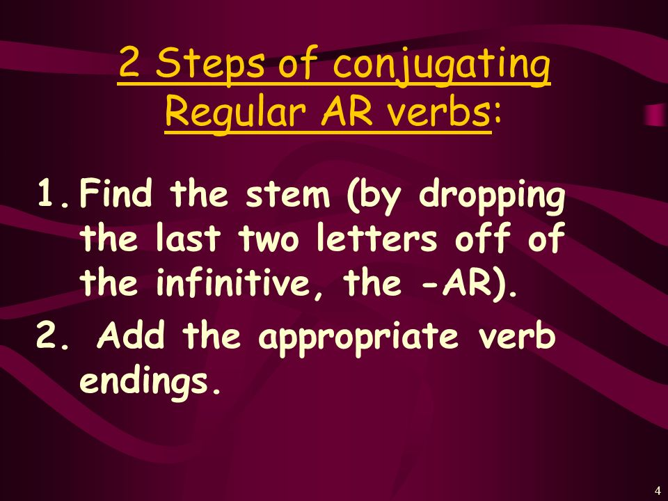 2 Steps of conjugating Regular AR verbs: