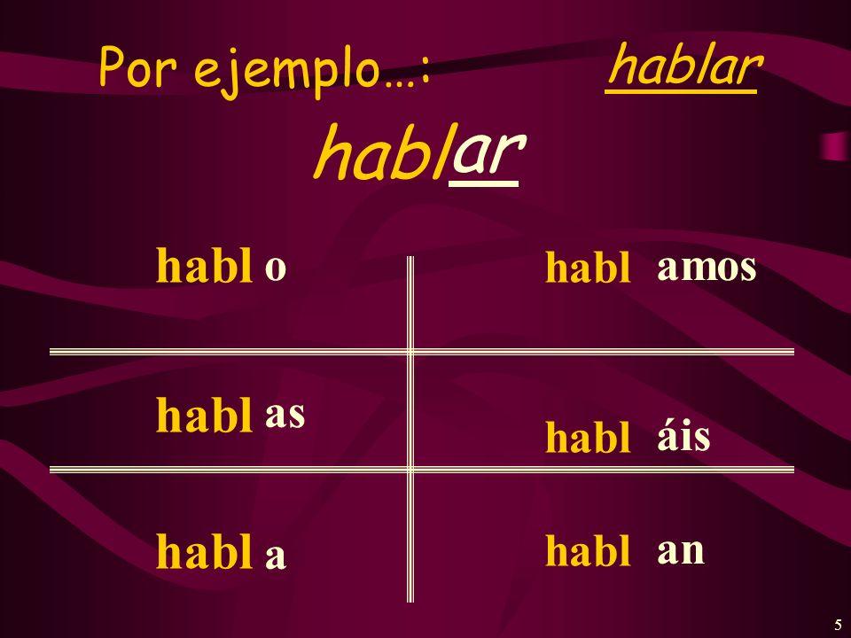 Por ejemplo…: hablar ar habl habl o as a amos áis an