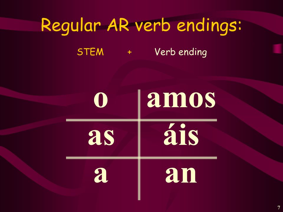 Regular AR verb endings: