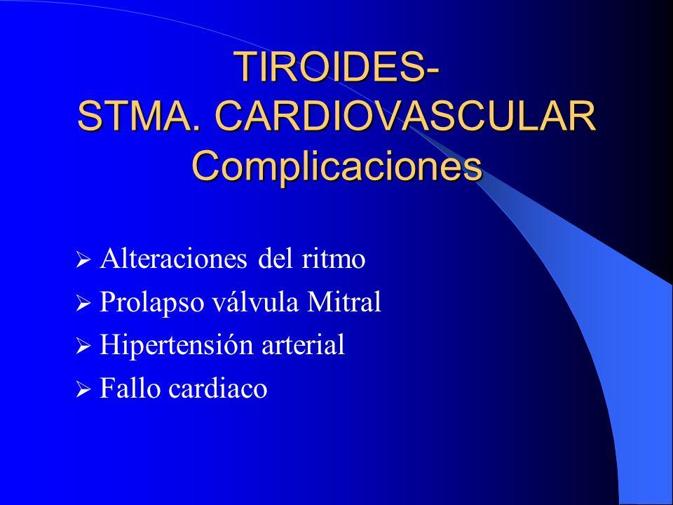 TIROIDES- STMA. CARDIOVASCULAR Complicaciones