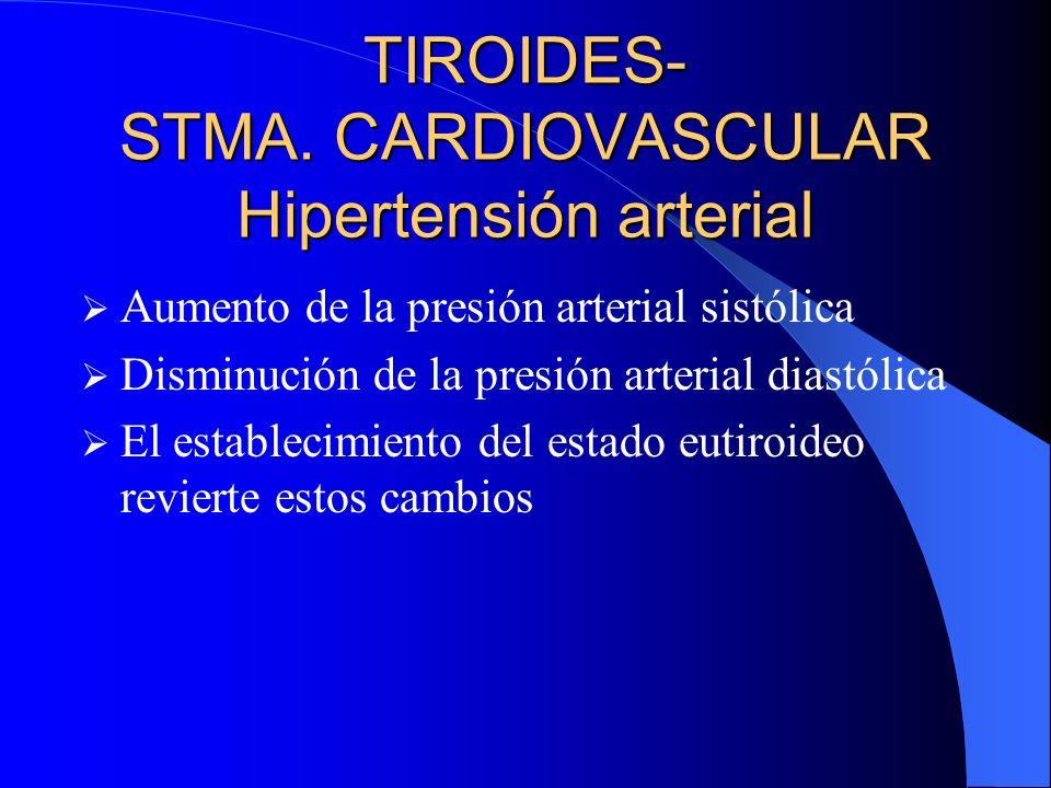 TIROIDES- STMA. CARDIOVASCULAR Hipertensión arterial