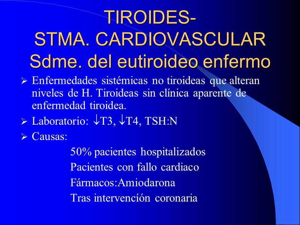 TIROIDES- STMA. CARDIOVASCULAR Sdme. del eutiroideo enfermo