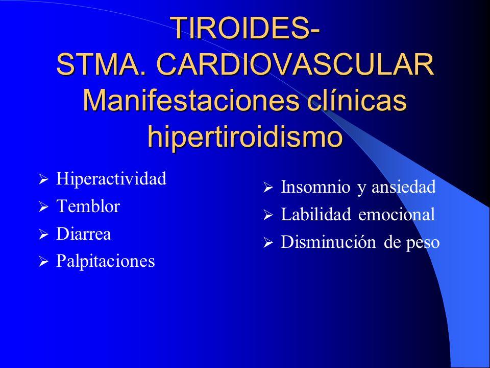 TIROIDES- STMA. CARDIOVASCULAR Manifestaciones clínicas hipertiroidismo