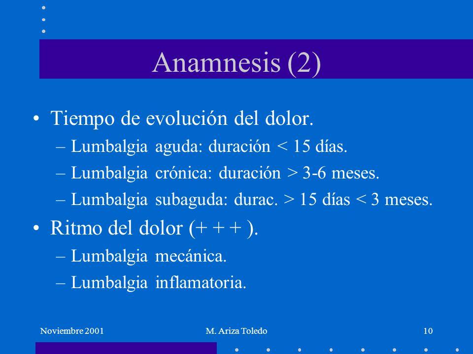 Anamnesis (2) Tiempo de evolución del dolor. Ritmo del dolor (+ + + ).