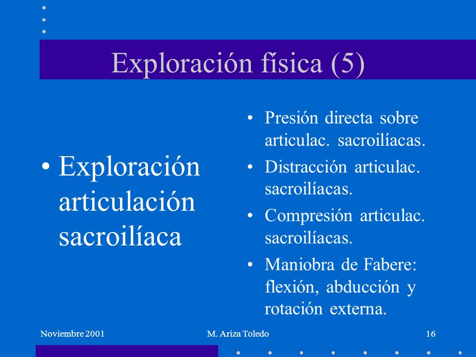 Exploración articulación sacroilíaca