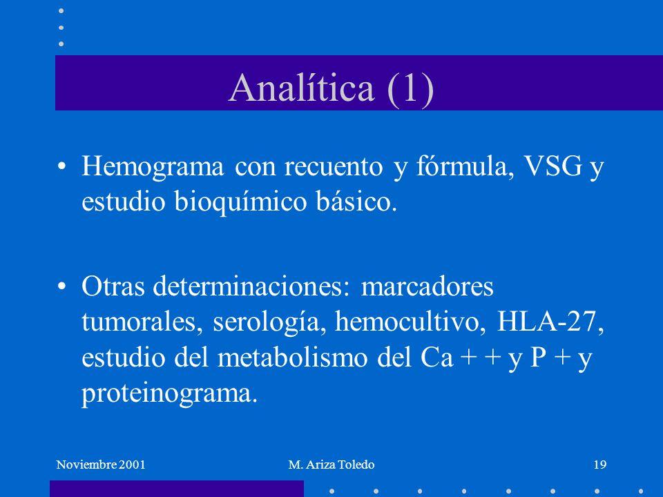 Analítica (1) Hemograma con recuento y fórmula, VSG y estudio bioquímico básico.