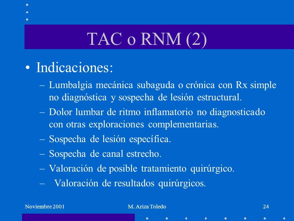 TAC o RNM (2) Indicaciones: