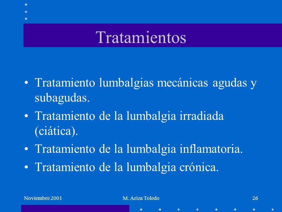 Tratamientos Tratamiento lumbalgias mecánicas agudas y subagudas.