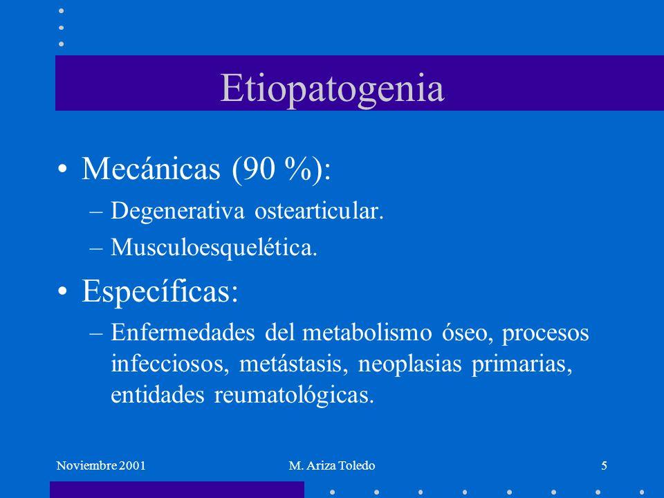Etiopatogenia Mecánicas (90 %): Específicas: