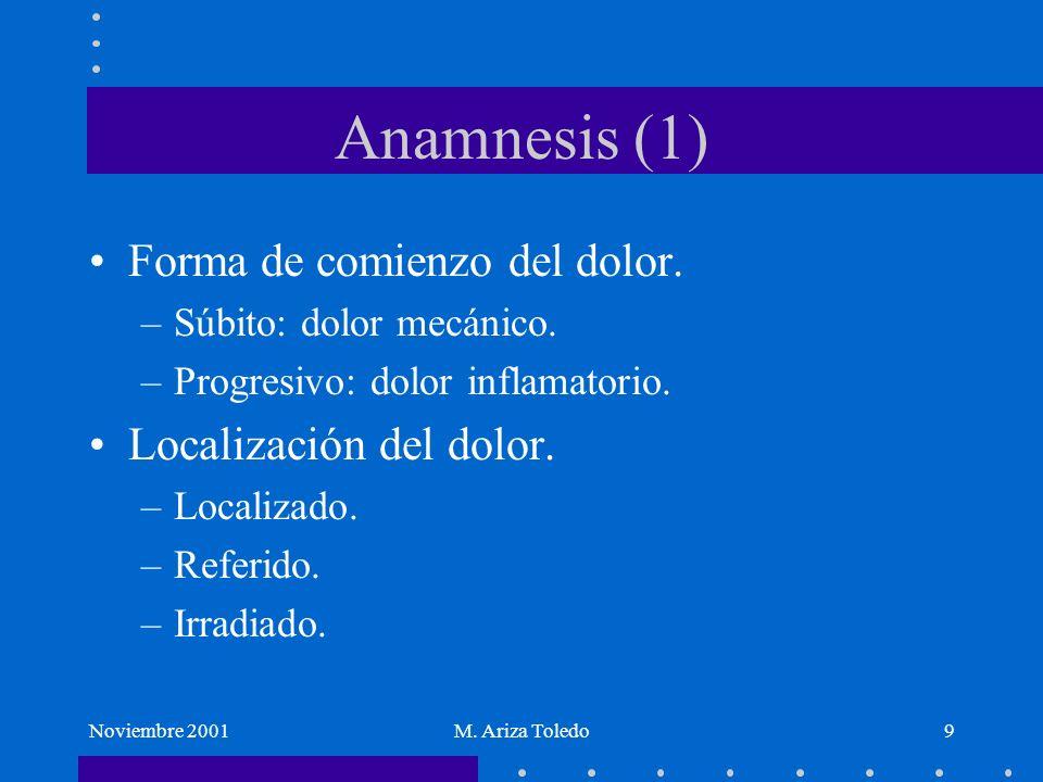 Anamnesis (1) Forma de comienzo del dolor. Localización del dolor.