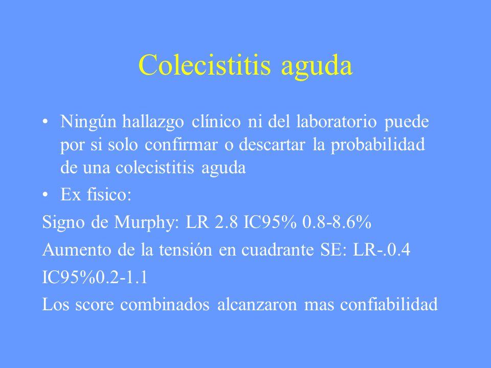 Colecistitis aguda Ningún hallazgo clínico ni del laboratorio puede por si solo confirmar o descartar la probabilidad de una colecistitis aguda.