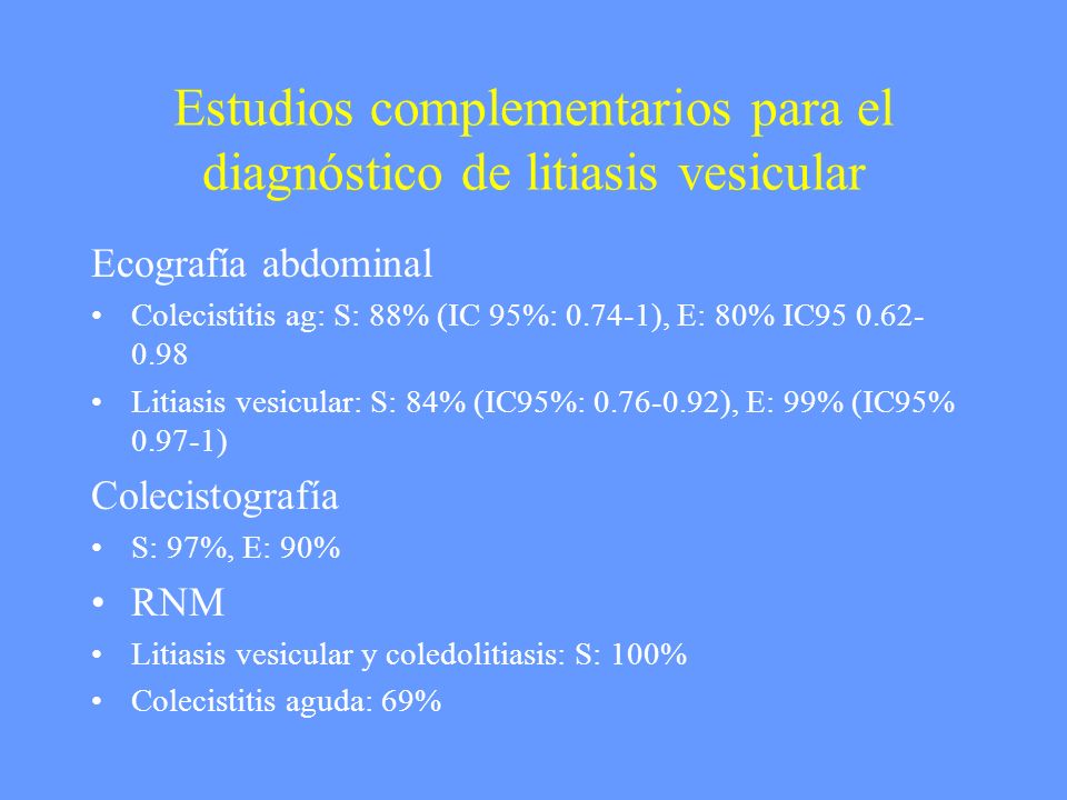 Estudios complementarios para el diagnóstico de litiasis vesicular