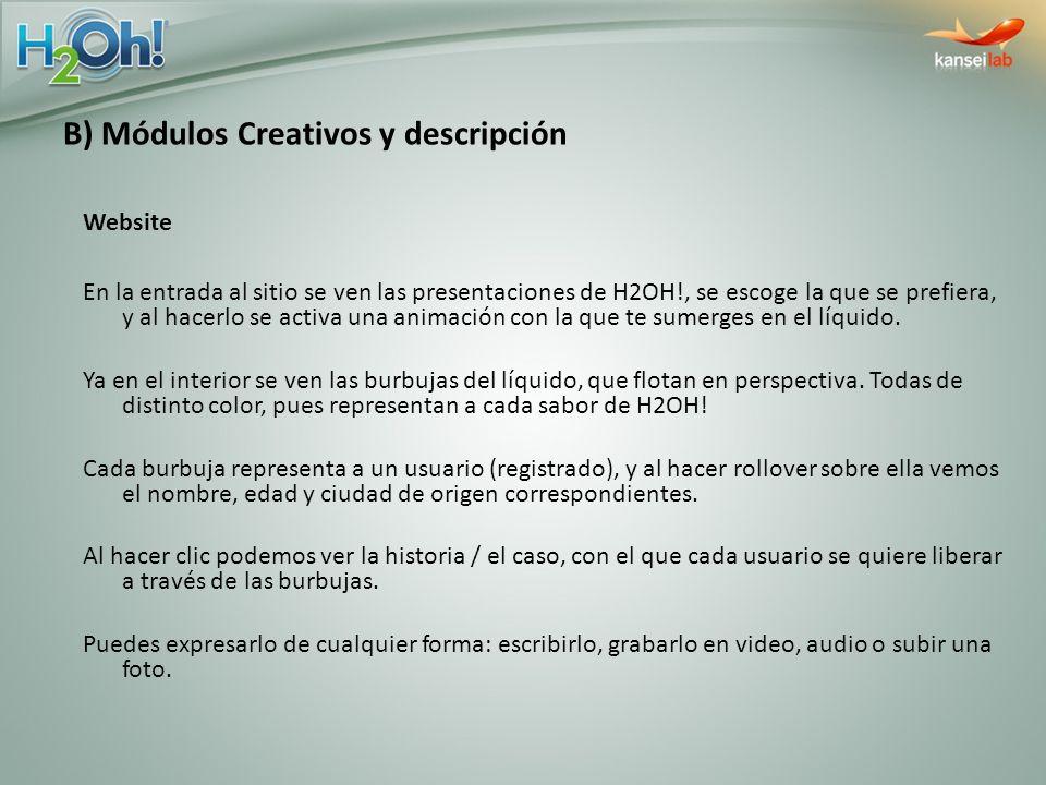 B) Módulos Creativos y descripción