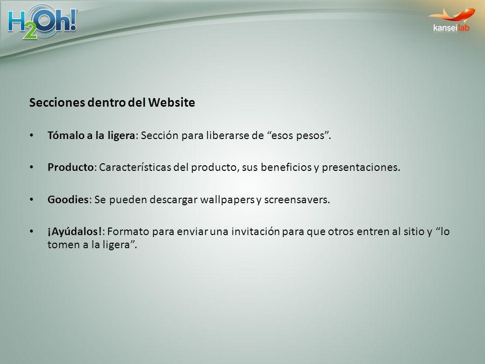 Secciones dentro del Website