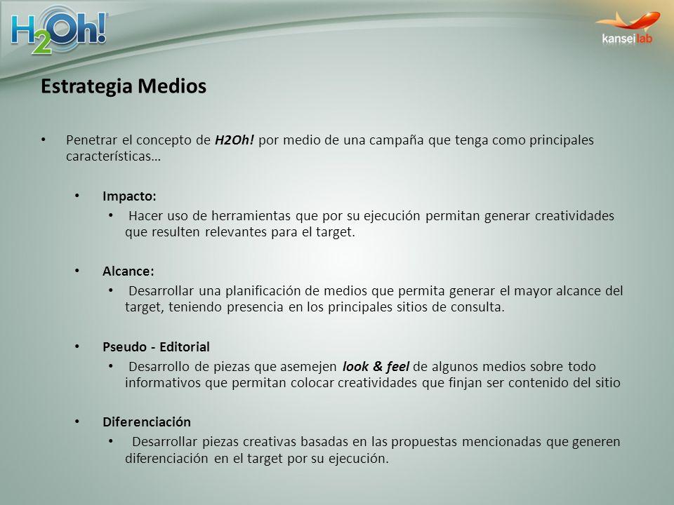 Estrategia Medios Penetrar el concepto de H2Oh! por medio de una campaña que tenga como principales características…