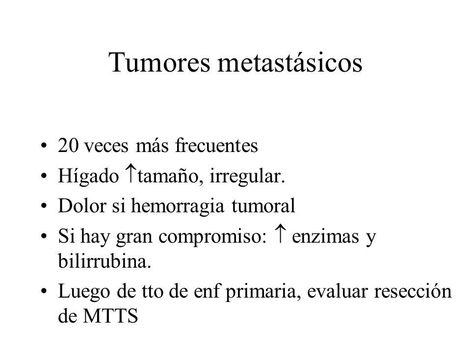 Tumores metastásicos 20 veces más frecuentes