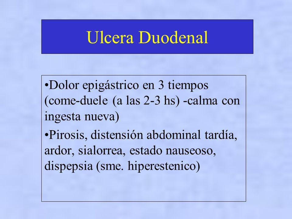 Ulcera Duodenal Dolor epigástrico en 3 tiempos (come-duele (a las 2-3 hs) -calma con ingesta nueva)
