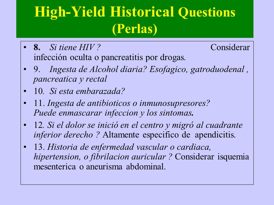 High-Yield Historical Questions (Perlas)