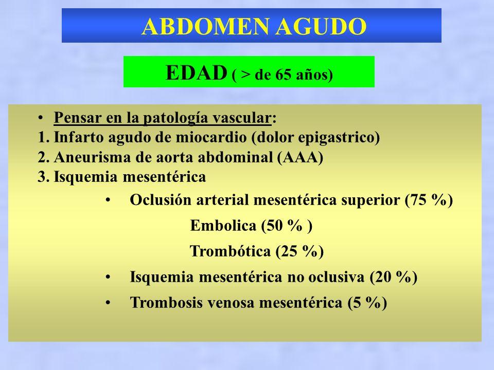 ABDOMEN AGUDO EDAD ( > de 65 años) Pensar en la patología vascular: