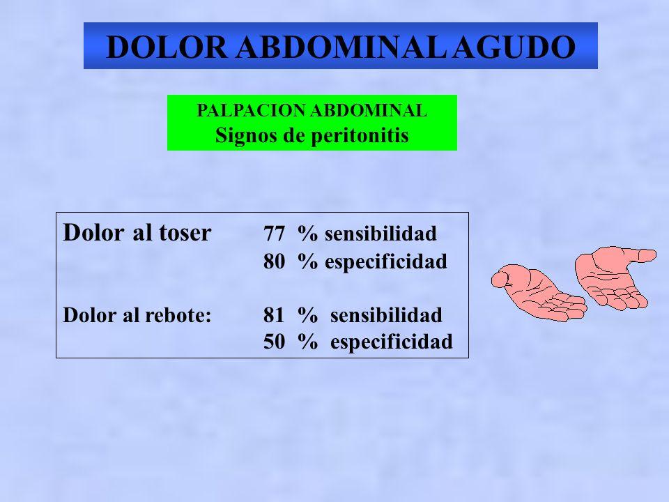 DOLOR ABDOMINAL AGUDO Dolor al toser 77 % sensibilidad