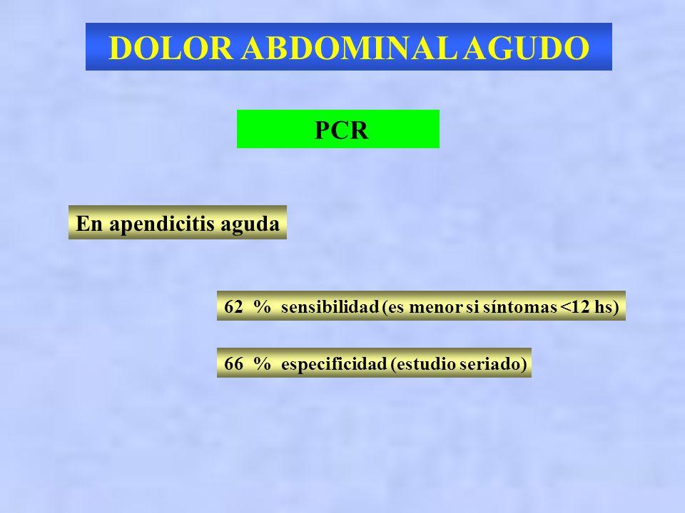 DOLOR ABDOMINAL AGUDO PCR En apendicitis aguda