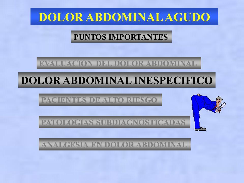 DOLOR ABDOMINAL AGUDO DOLOR ABDOMINAL INESPECIFICO PUNTOS IMPORTANTES