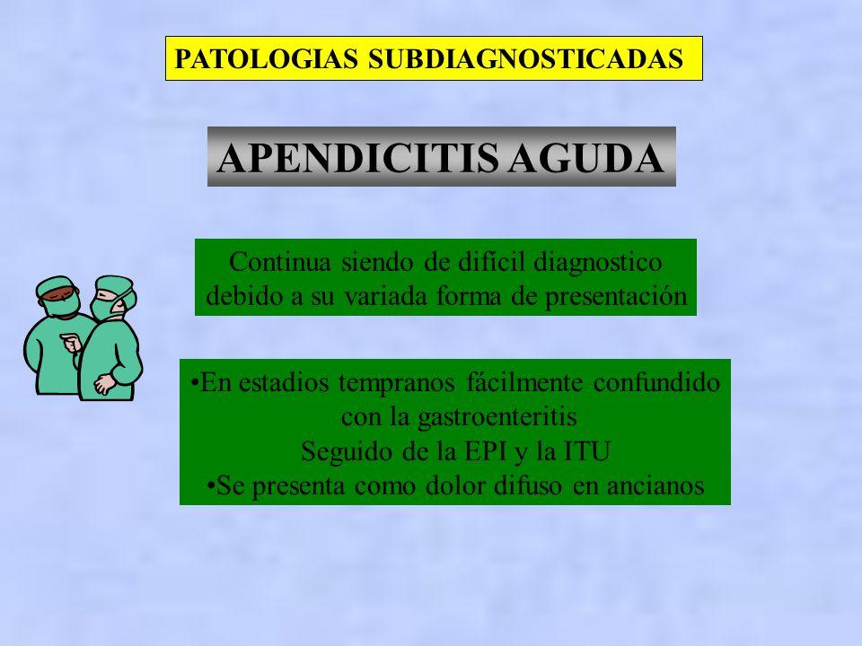 APENDICITIS AGUDA PATOLOGIAS SUBDIAGNOSTICADAS
