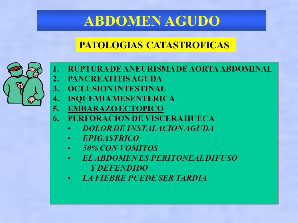 ABDOMEN AGUDO PATOLOGIAS CATASTROFICAS