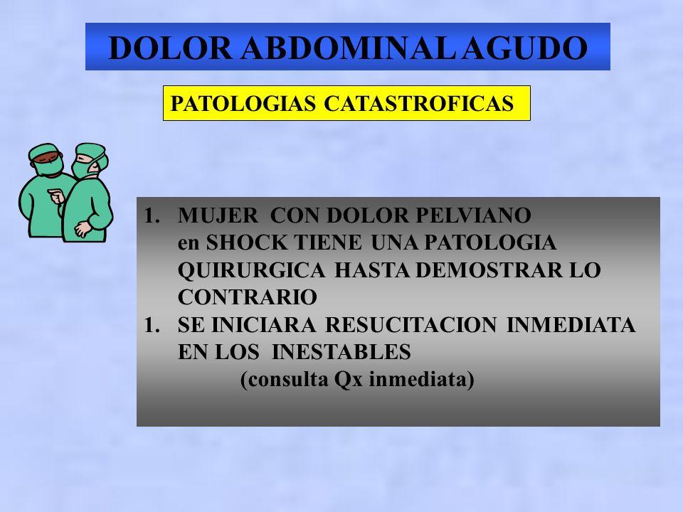 DOLOR ABDOMINAL AGUDO PATOLOGIAS CATASTROFICAS