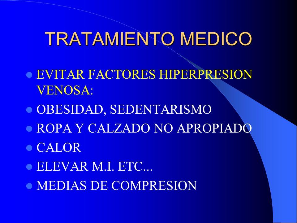 TRATAMIENTO MEDICO EVITAR FACTORES HIPERPRESION VENOSA: