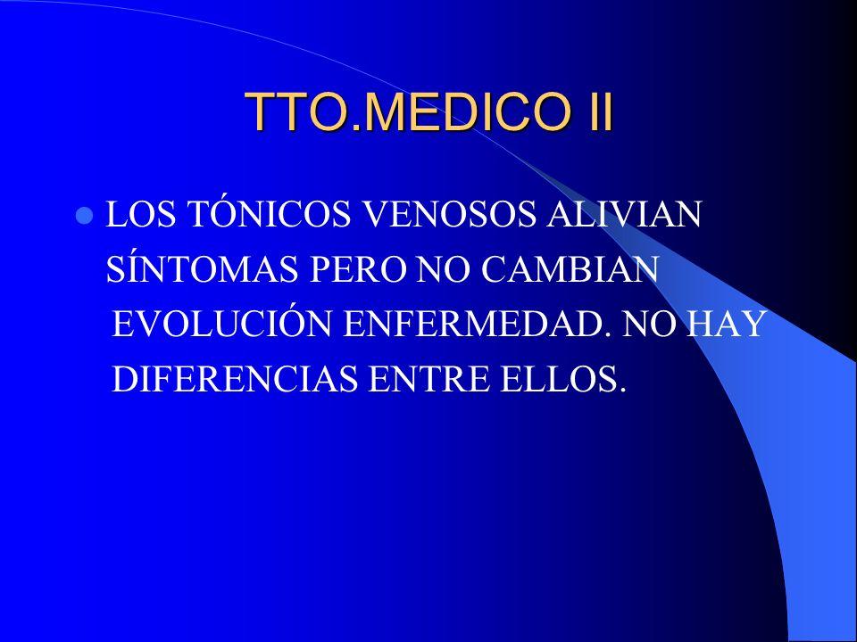 TTO.MEDICO II LOS TÓNICOS VENOSOS ALIVIAN SÍNTOMAS PERO NO CAMBIAN