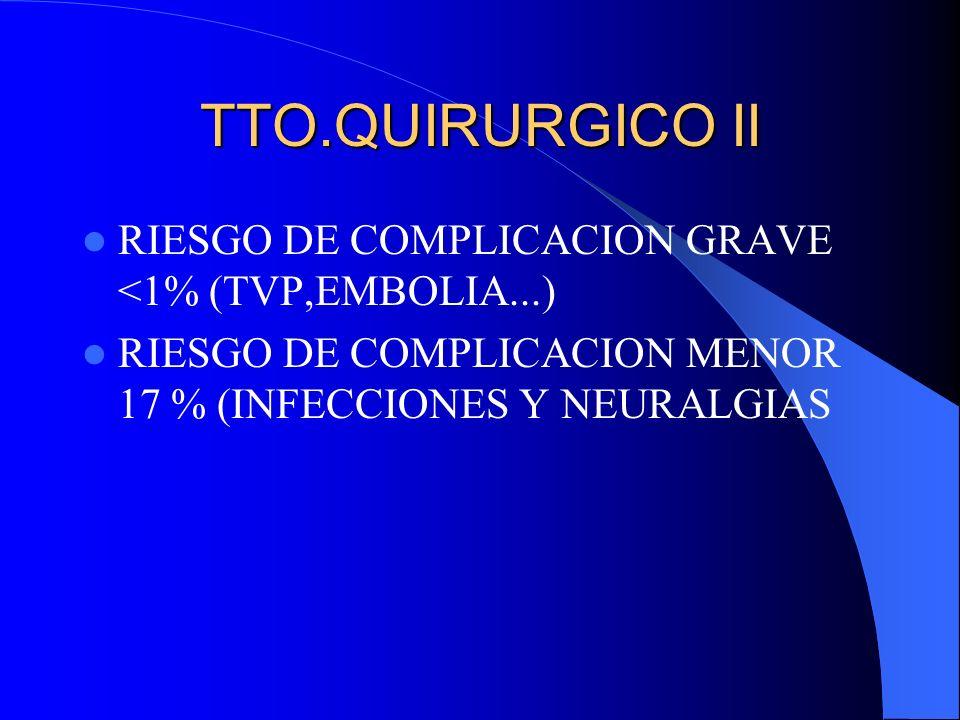 TTO.QUIRURGICO II RIESGO DE COMPLICACION GRAVE <1% (TVP,EMBOLIA...)