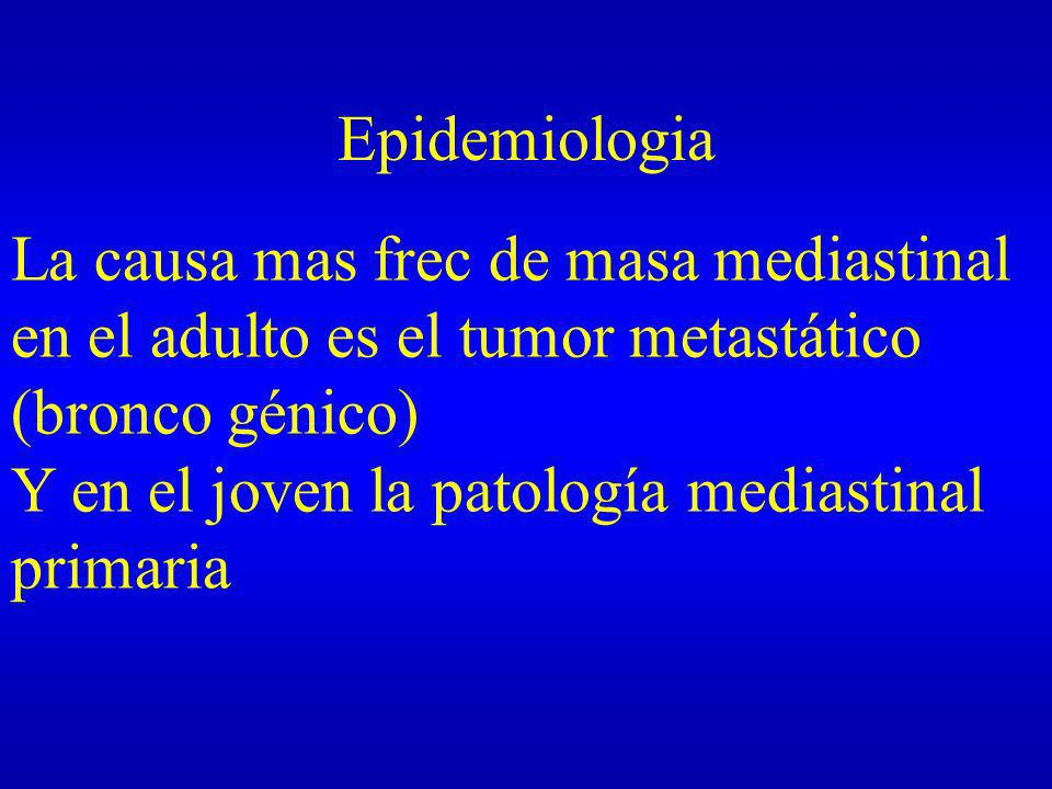 Epidemiologia La causa mas frec de masa mediastinal en el adulto es el tumor metastático (bronco génico)