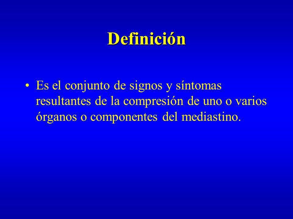 DefiniciónEs el conjunto de signos y síntomas resultantes de la compresión de uno o varios órganos o componentes del mediastino.