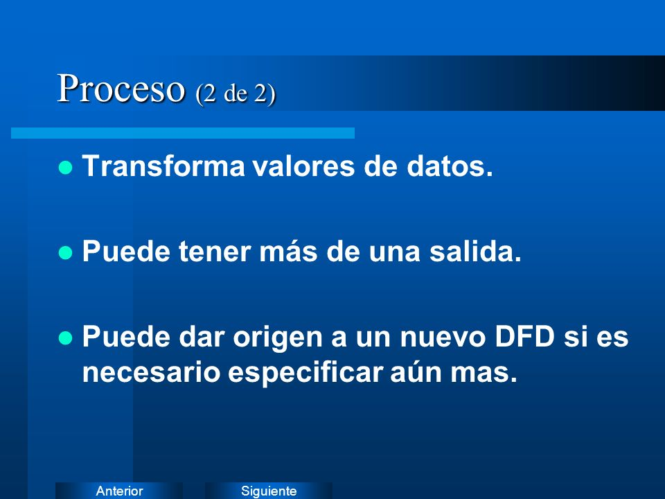 Proceso (2 de 2) Transforma valores de datos.