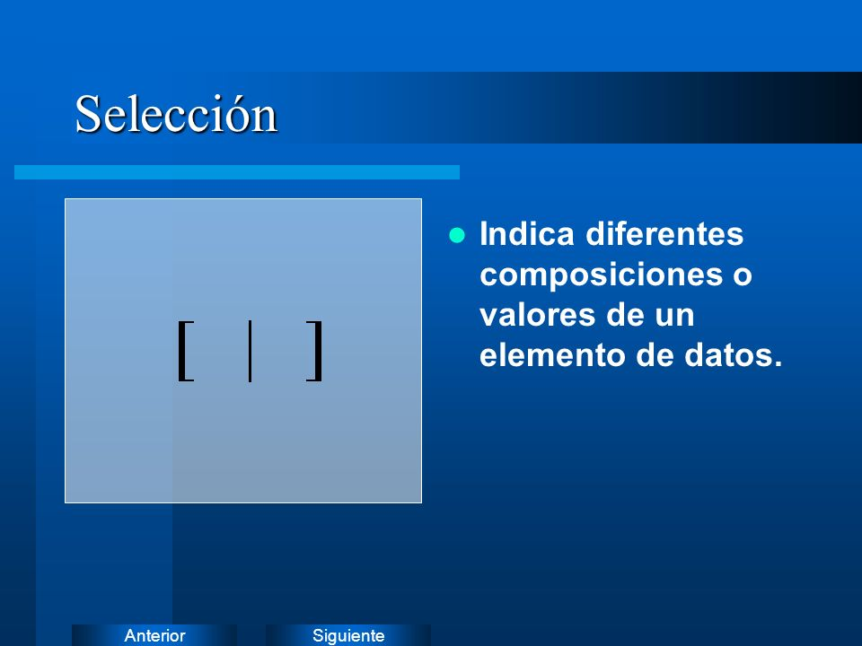 Selección Indica diferentes composiciones o valores de un elemento de datos.