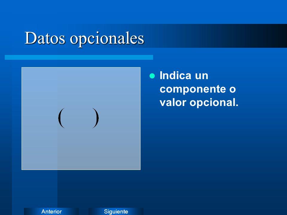 Datos opcionales Indica un componente o valor opcional.