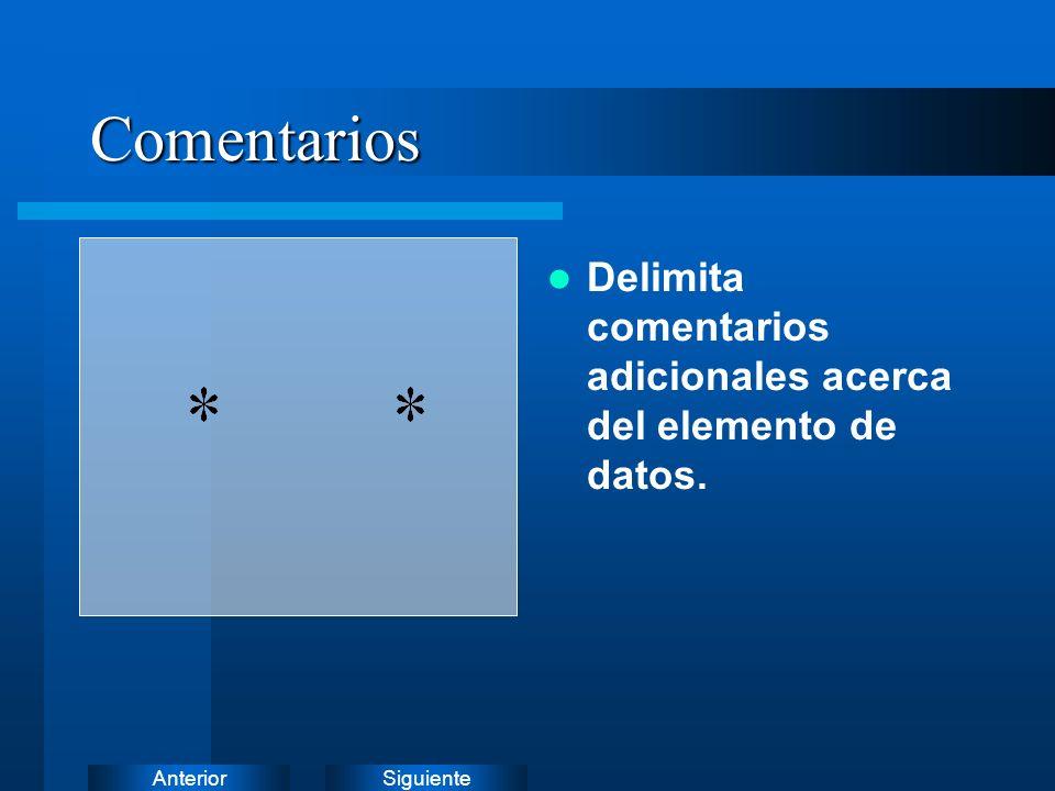 Comentarios Delimita comentarios adicionales acerca del elemento de datos.