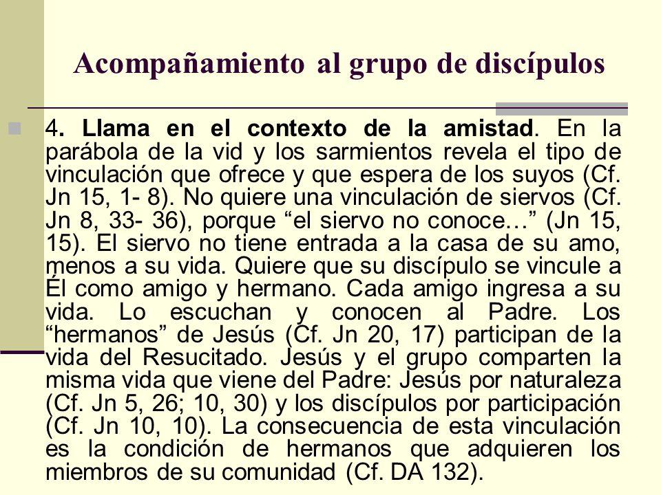 Acompañamiento al grupo de discípulos