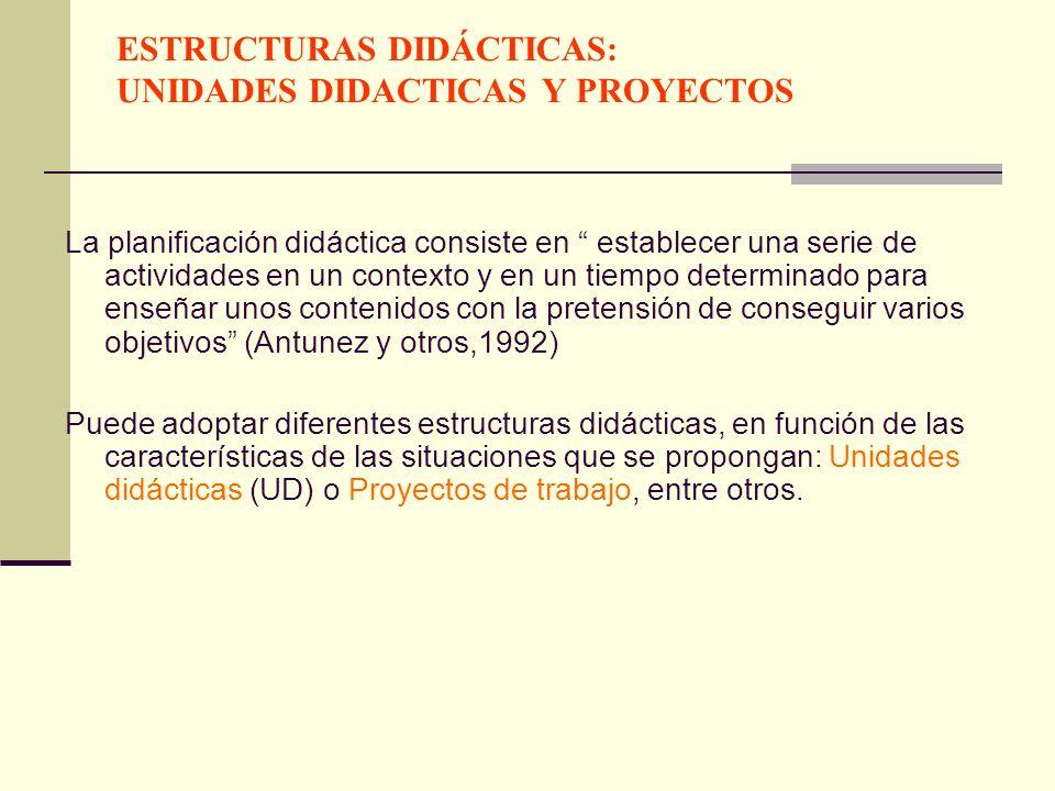 ESTRUCTURAS DIDÁCTICAS: UNIDADES DIDACTICAS Y PROYECTOS