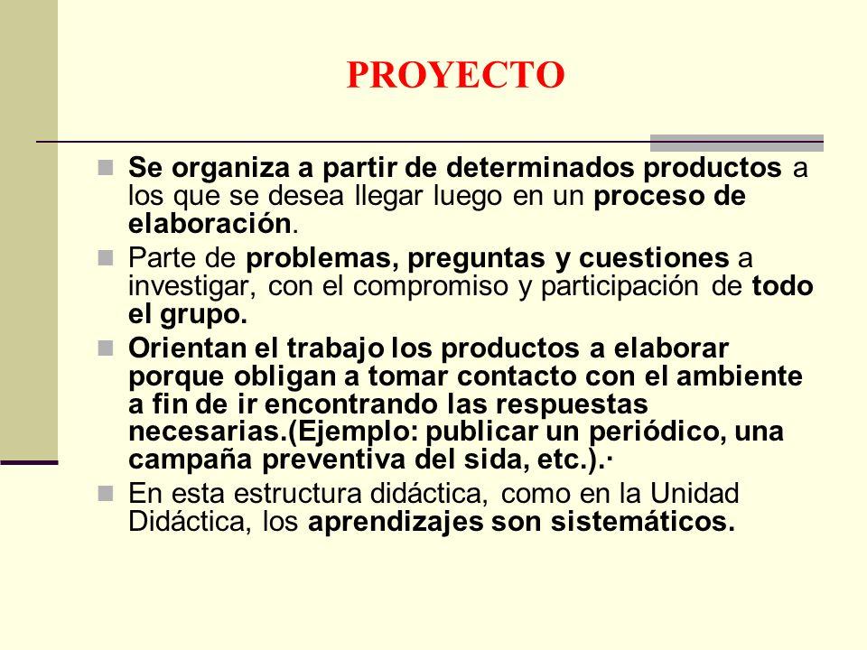 PROYECTOSe organiza a partir de determinados productos a los que se desea llegar luego en un proceso de elaboración.